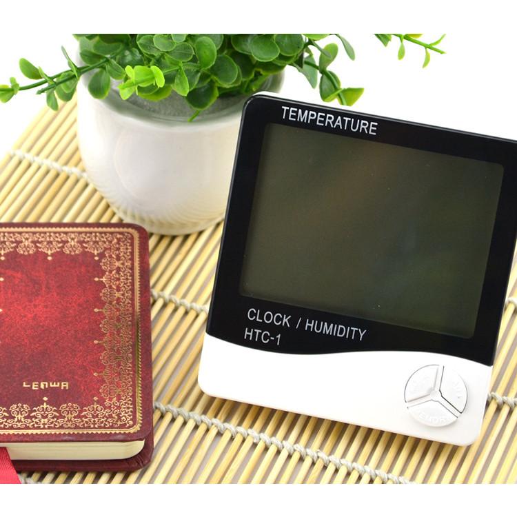 Đồng hồ hiển thị giờ, nhiệt độ, độ ẩm HTC-1 - Tặng kèm 01 móc dán tường ngẫu nhiên