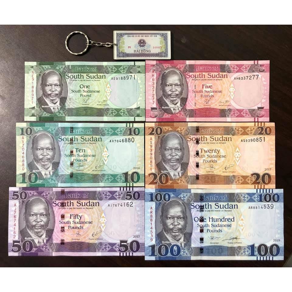 Tiền cổ thế giới, đủ bộ tiền 6 tờ của Nam Sudan, sưu tầm (tặng kèm móc khóa hình tiền xưa)