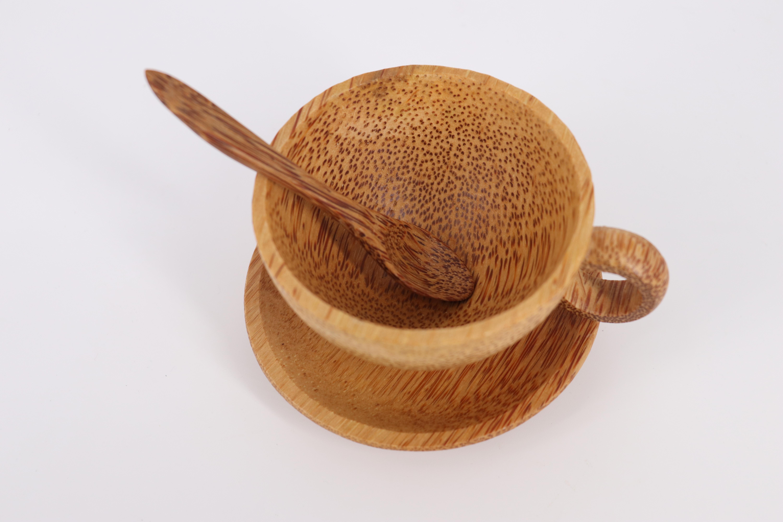 3 Bộ tách trà + muỗng gỗ dừa Mộc Tre, 100% tự nhiên