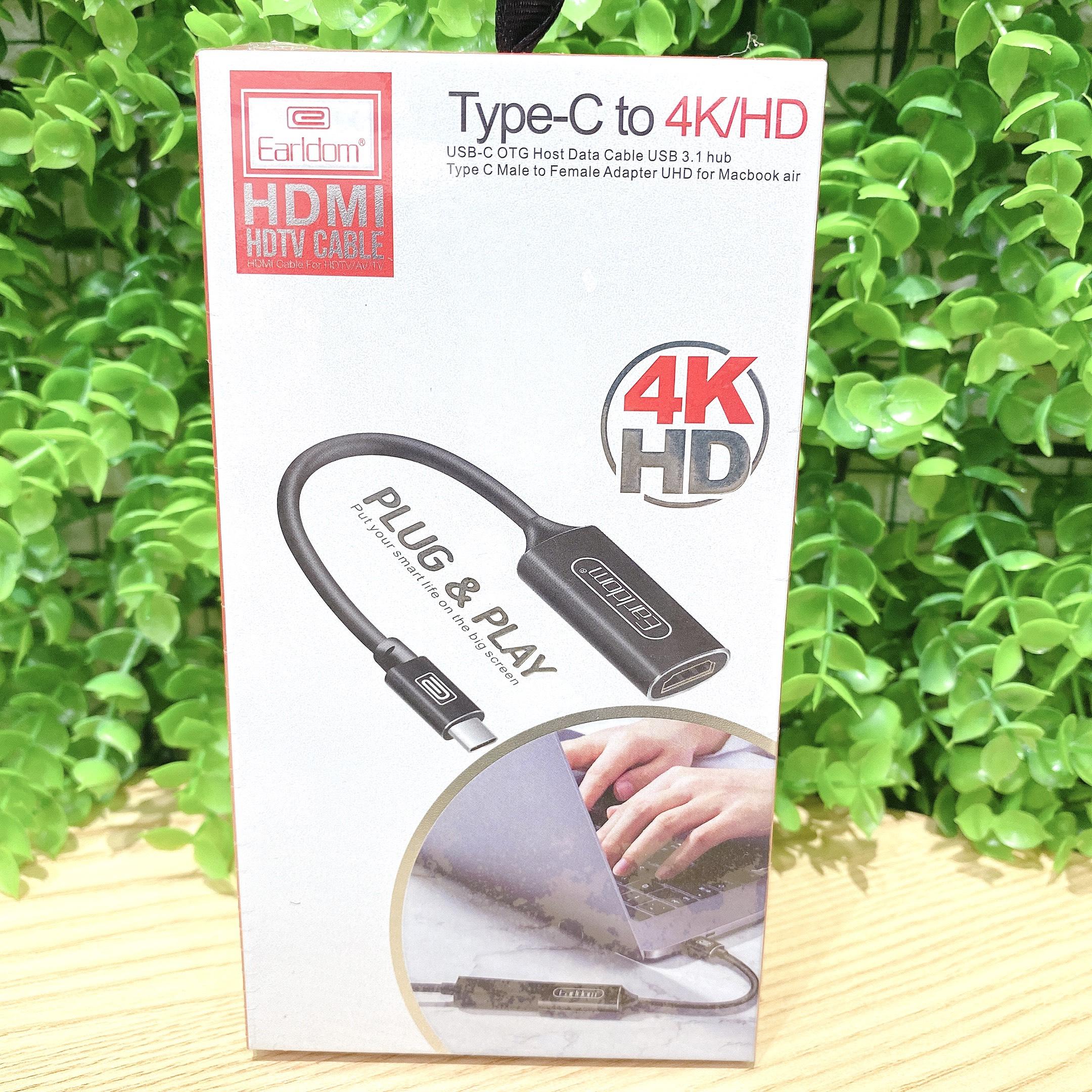 Jack Chuyển Đổi Từ Cổng TypeC Ra Cổng HDMI Earldom W11( Độ Phân Giải 4K) Giao màu ngẫu nhiên - Hàng chính hãng