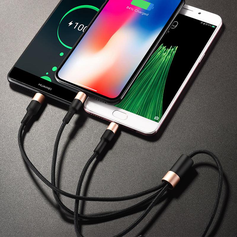Cáp sạc 3 đầu Hoco X26 Lightning + Micro USB + Type-C - Hàng chính hãng