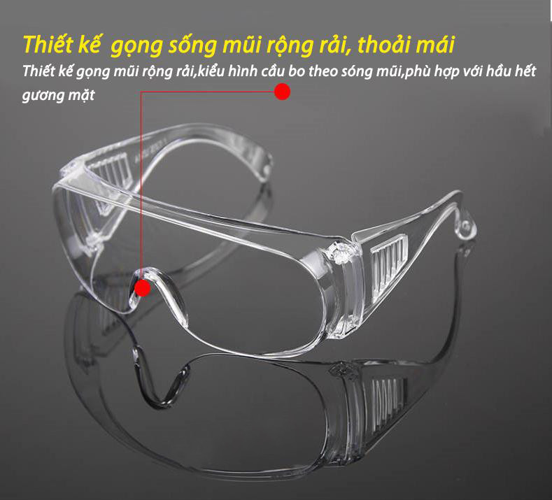 Kính nam nữ trong suốt chống bụi, cản tia UV, chắn gió, chống giọt bắn bảo vệ mắt- kính bảo hộ ( tặng kèm khẩu trang)
