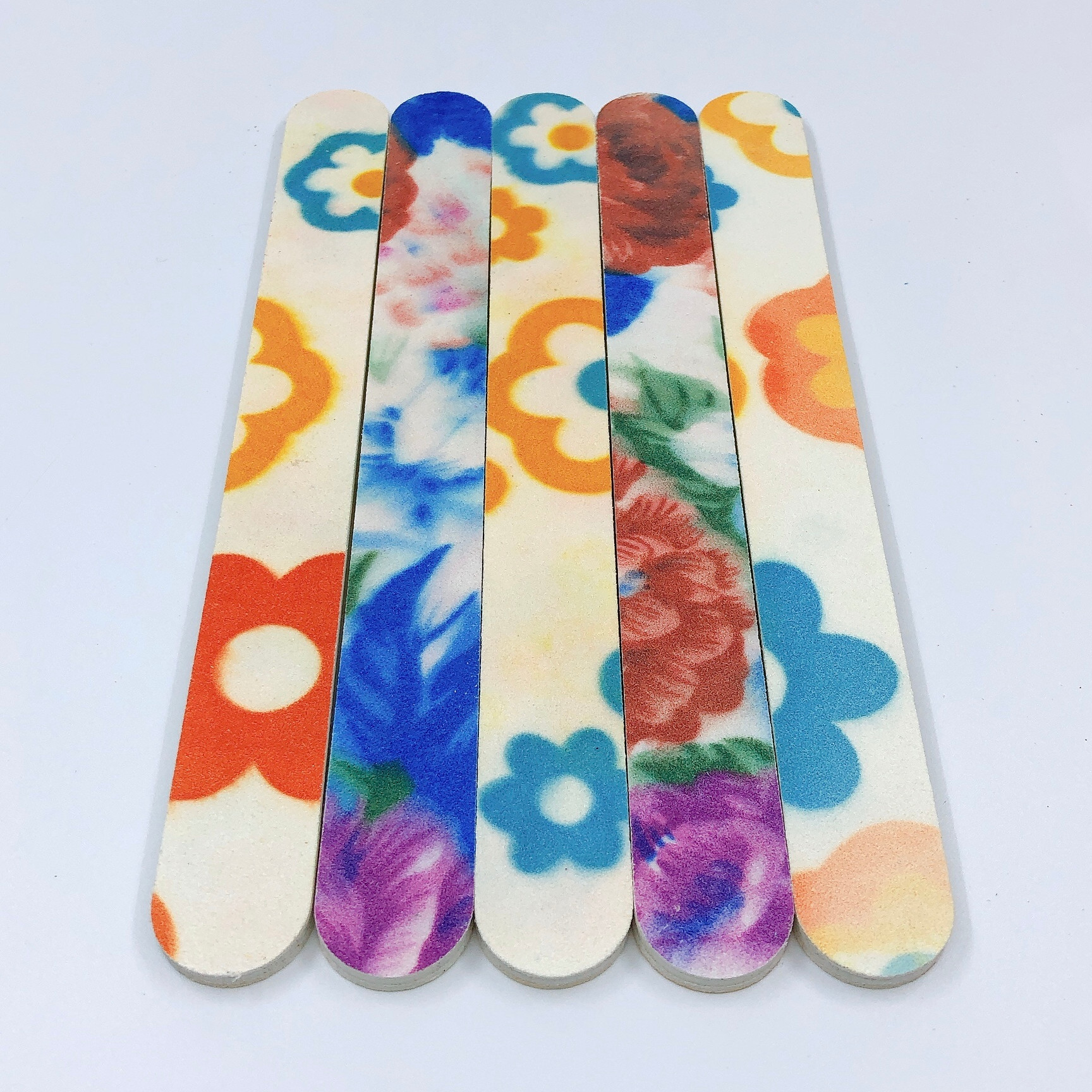 Set 5 dũa móng tay, dũa móng bột in bông - độ nhám 120/120 - Giao màu ngẫu nhiên