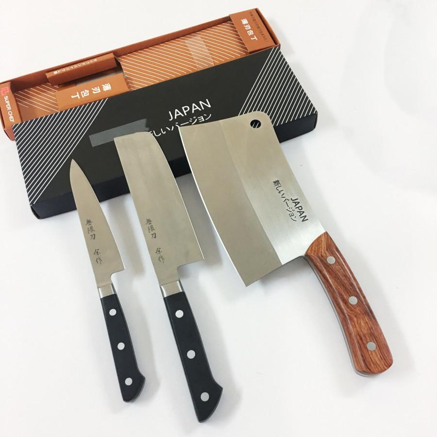 Bộ 3 Dao cao cấp cán nhựa ABS, cán gỗ không hút nước gồm Dao chặt, thái, làm cá lưỡi ngắn Công nghệ Nhật Bản