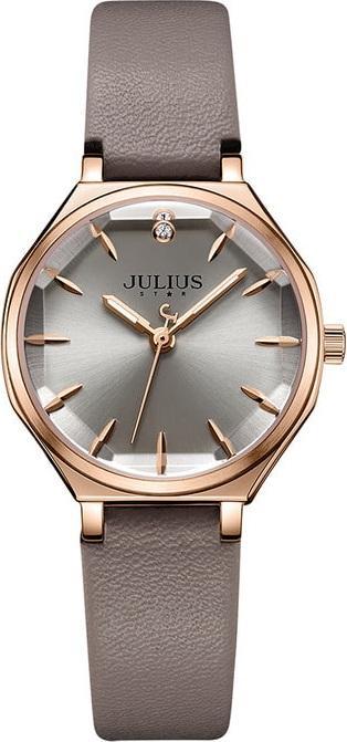 Đồng Hồ Nữ JS-008 Julius Star Hàn Quốc Dây Da - Xám