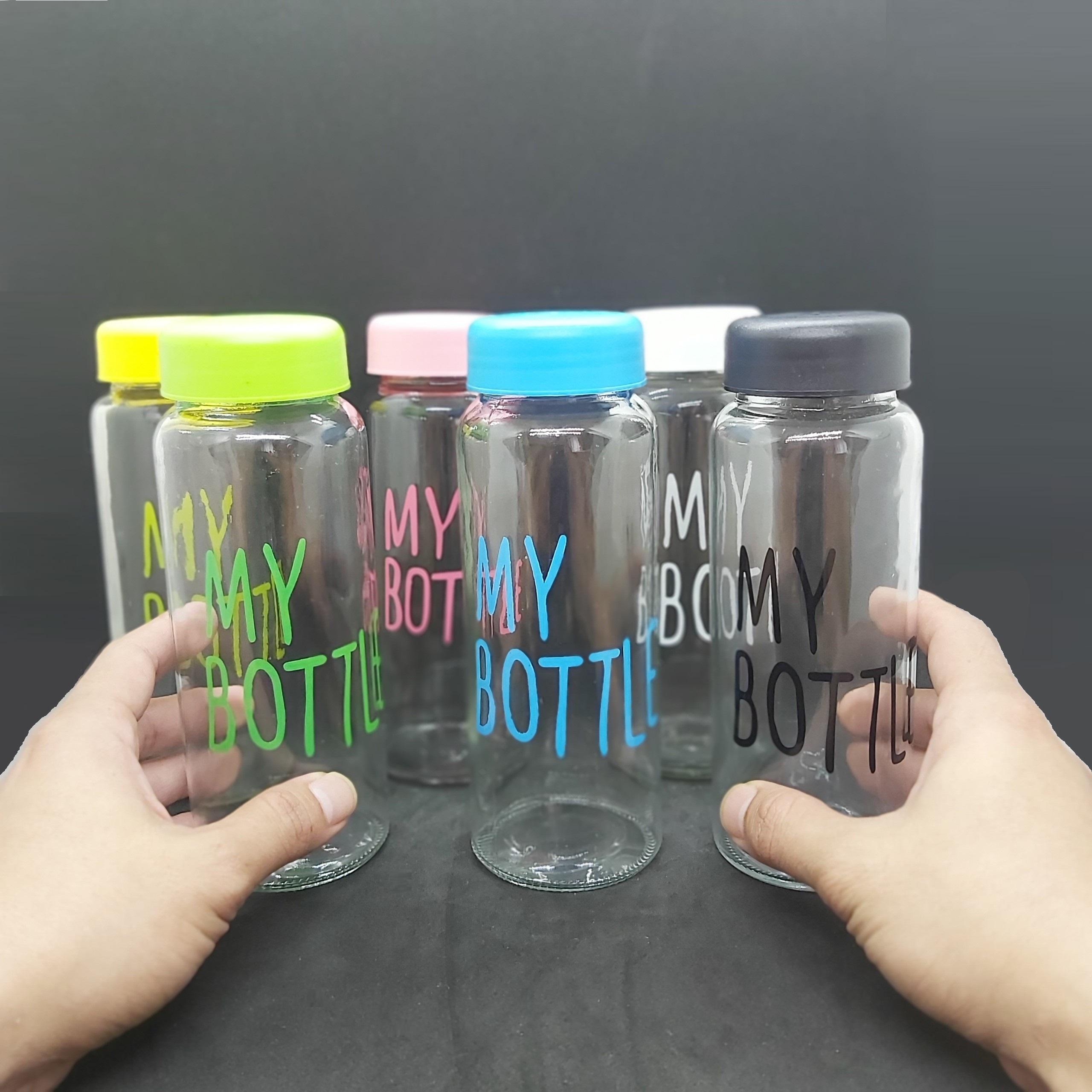 Combo 6 Chai Thủy Tinh đựng nước MY BOTTLE 500ML đủ màu sắc - Nắp nhựa đủ màu theo chai (Bình đựng nước thủy tinh, đựng sữa - Chai đựng nước ép)