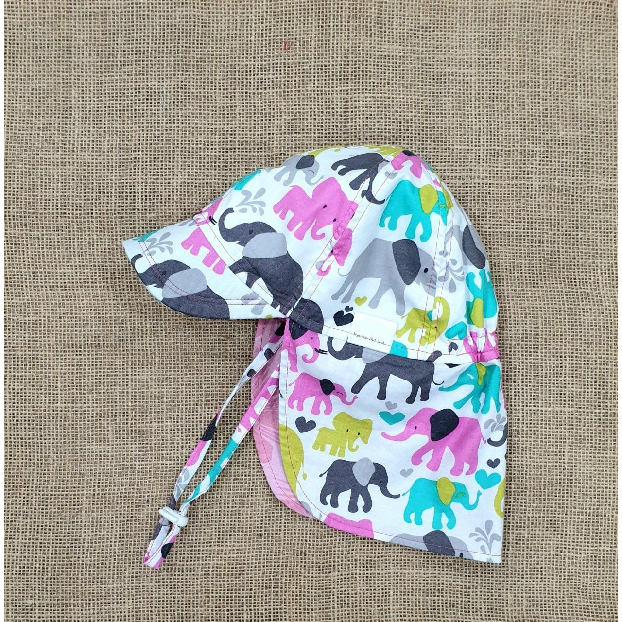 Mũ che gáy, mũ lưỡi trai có gáy kiểu Nhật cho bé gái mẫu con voi đáng yêu. Chống nắng tia UV, đi biển, dã ngoại cho bé từ 1-12 tuổi