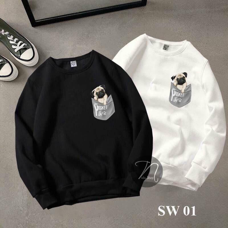 Áo Sweater Nam Nữ Phông Rộng In Hình Cute Ngực Trái Phong Cách Hàn Quốc - LZGV038