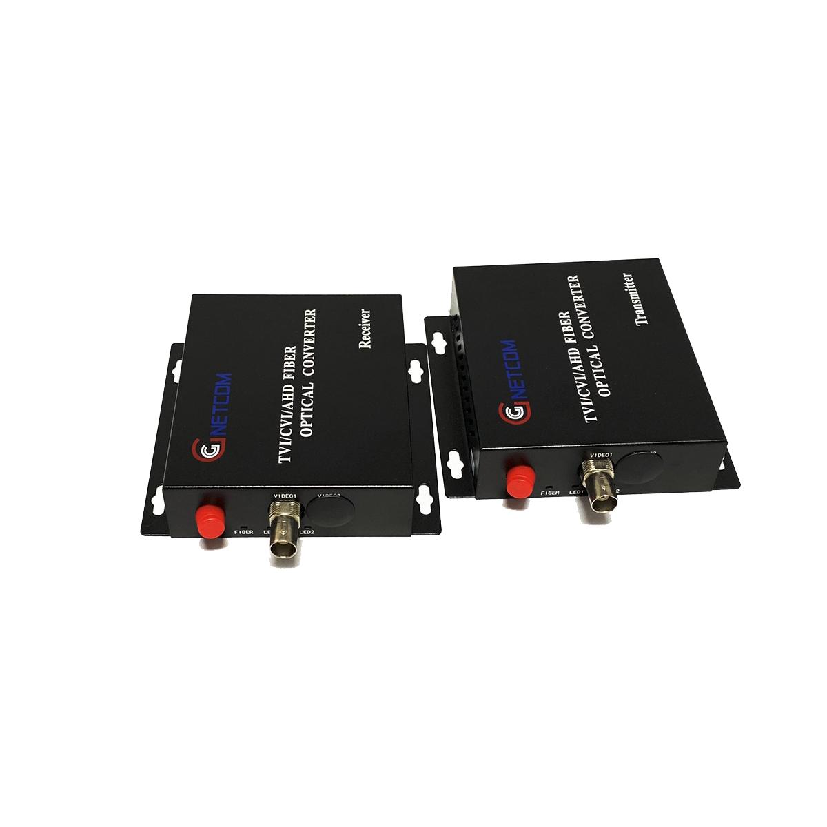 Bộ chuyển đổi video sang quang 1 kênh GNETCOM HL-1V-20T/R-1080P (2 thiết bị,2 adapter) - Hàng Chính Hãng