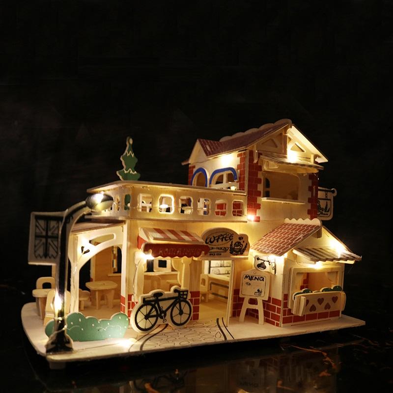 Đồ chơi lắp ráp gỗ 3D Mô hình Romantic Coffe House