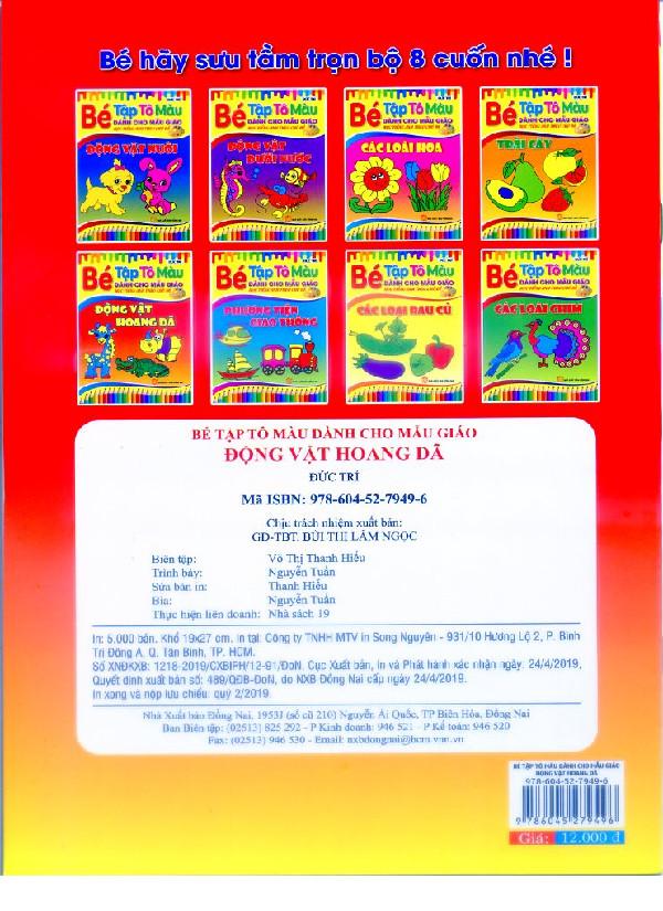 Bộ 4 quyển Bé Tập Tô màu Theo Chủ Đề: Động Vật Nuôi, Động Vật Hoang Dã, Các Loại Trái cây, Các Loại Rau Củ