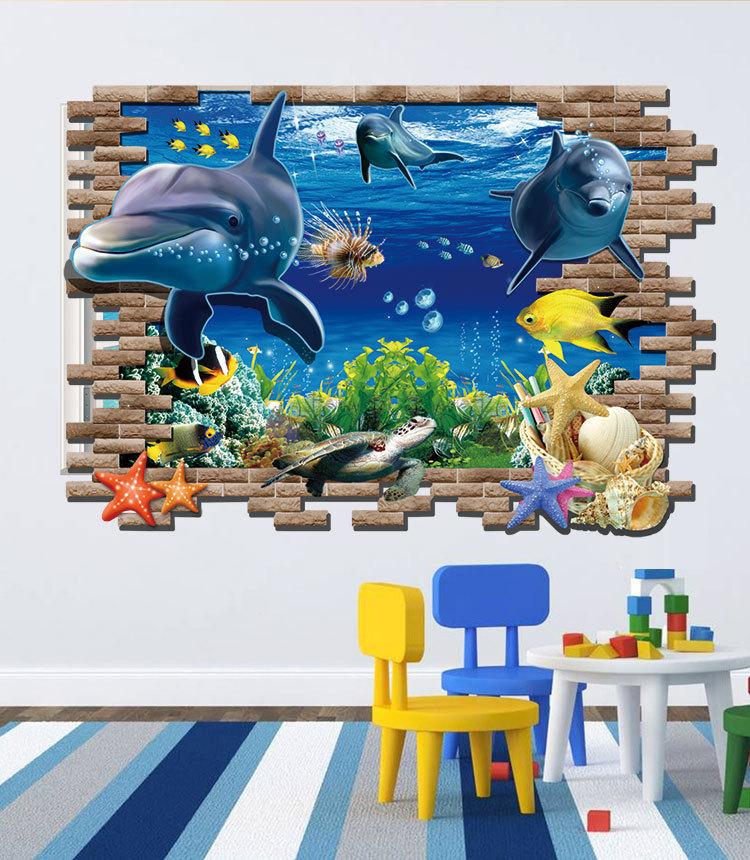 Decal Dán Tường Cá Heo 3D - AY9706