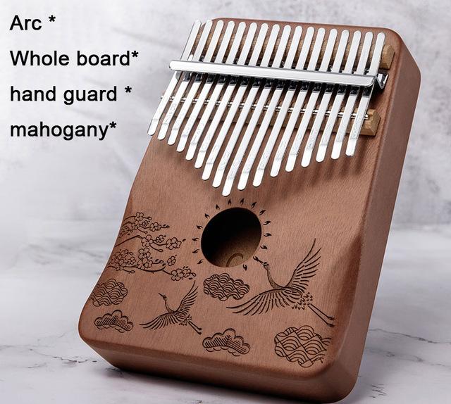 Đàn kalimba 17 phím gỗ nguyên khối Mahogany Cega -IM170152 họa tiết chim hạc Tặng búa chỉnh âm , stick màu, khăn lau đàn và bông tắm xơ mướp PROVK399