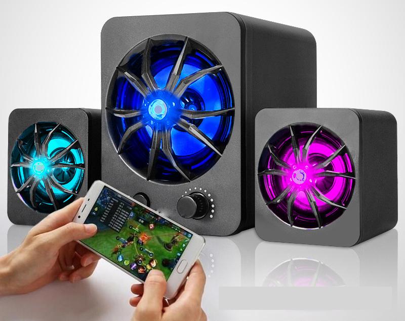 Bộ Loa Máy Tính Để Bàn D-217 Âm Thanh Trầm Hỗ Trợ Bluetooth, USB, Thẻ Nhớ, Jack 3.5 + Tặng Tai Nghe Bluetooth Nhét Tai