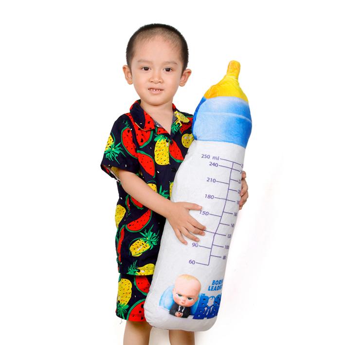 Gấu bông bình sữa 3D cho bé cao cấp 80cm