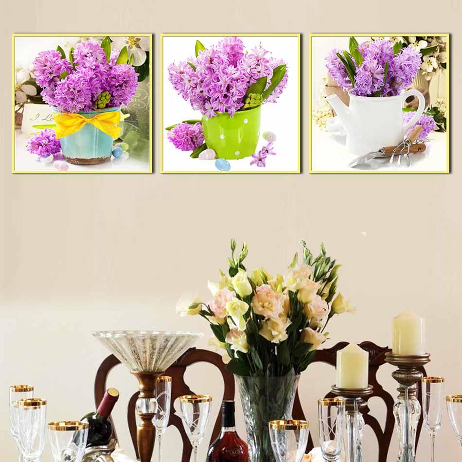 Bộ 3 tranh canvas treo tường Decor Bình hoa trang trí phòng ăn, phong cách hiện đại - DC067