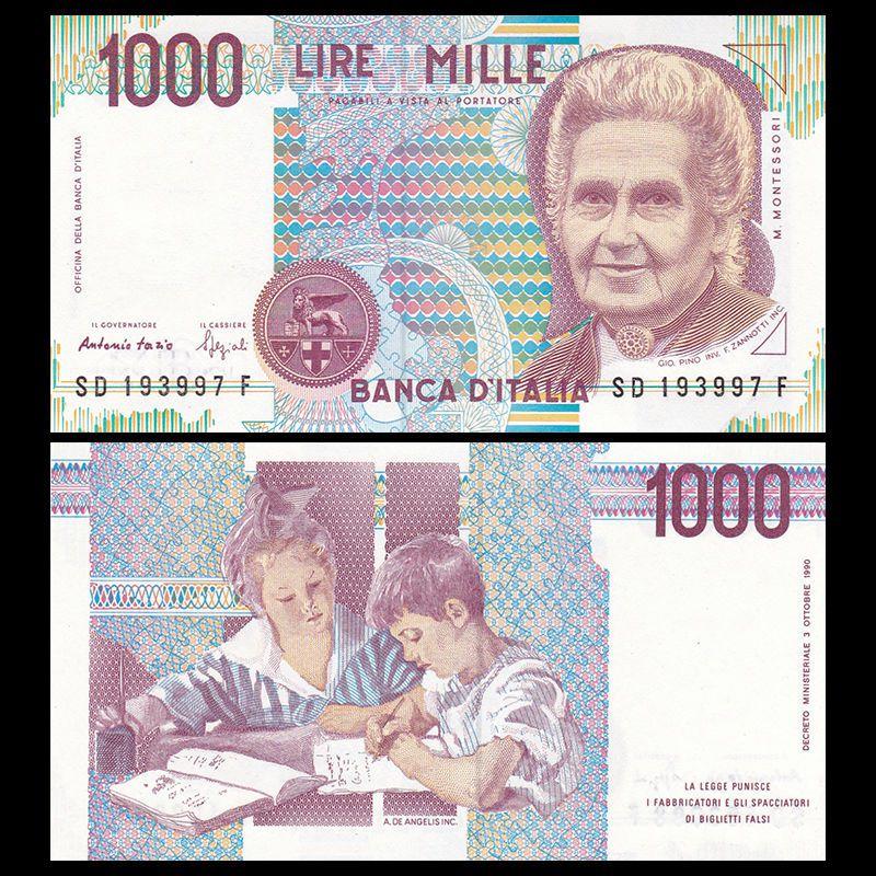 Tiền xưa thế giới Italy 1000 lire