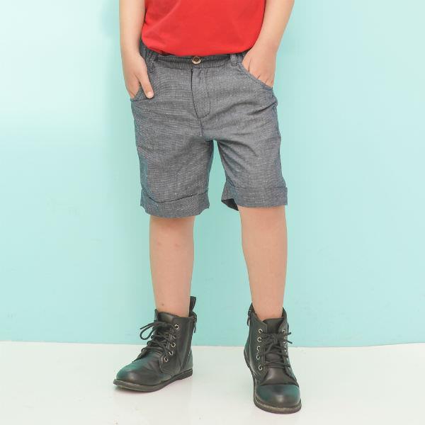 Quần Shorts Bé Trai Sọc Caro Nhí Ugether UKID216 - Xám 7 - 8 Tuổi
