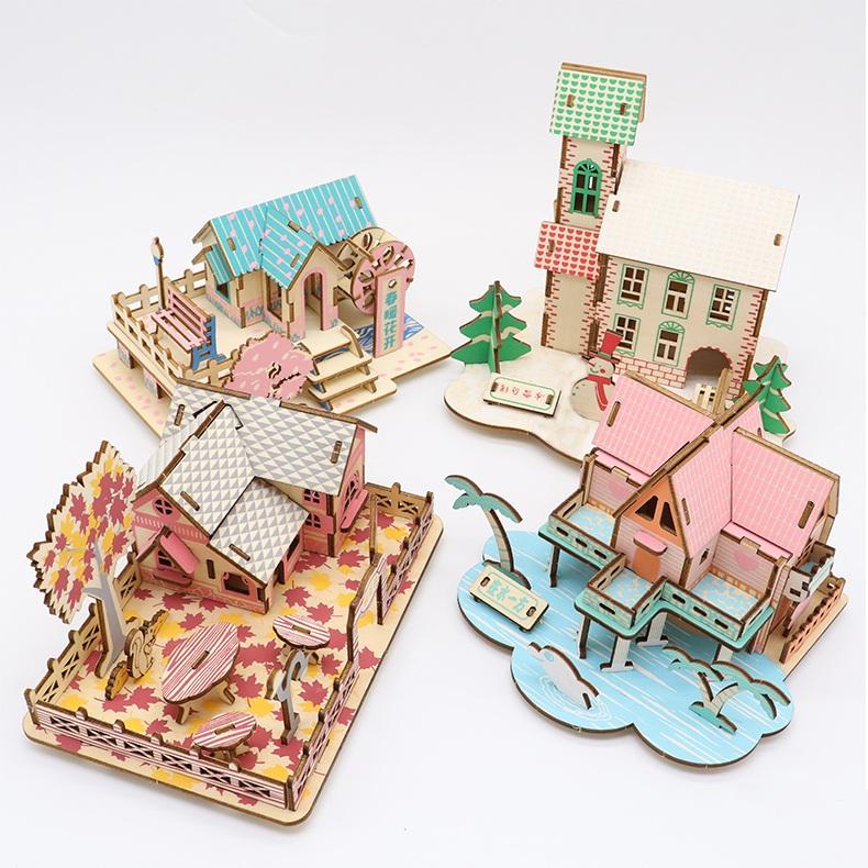 Đồ chơi lắp ráp gỗ 3D Bộ Nhà gỗ Bốn mùa Xuân Hạ Thu Đông HD00