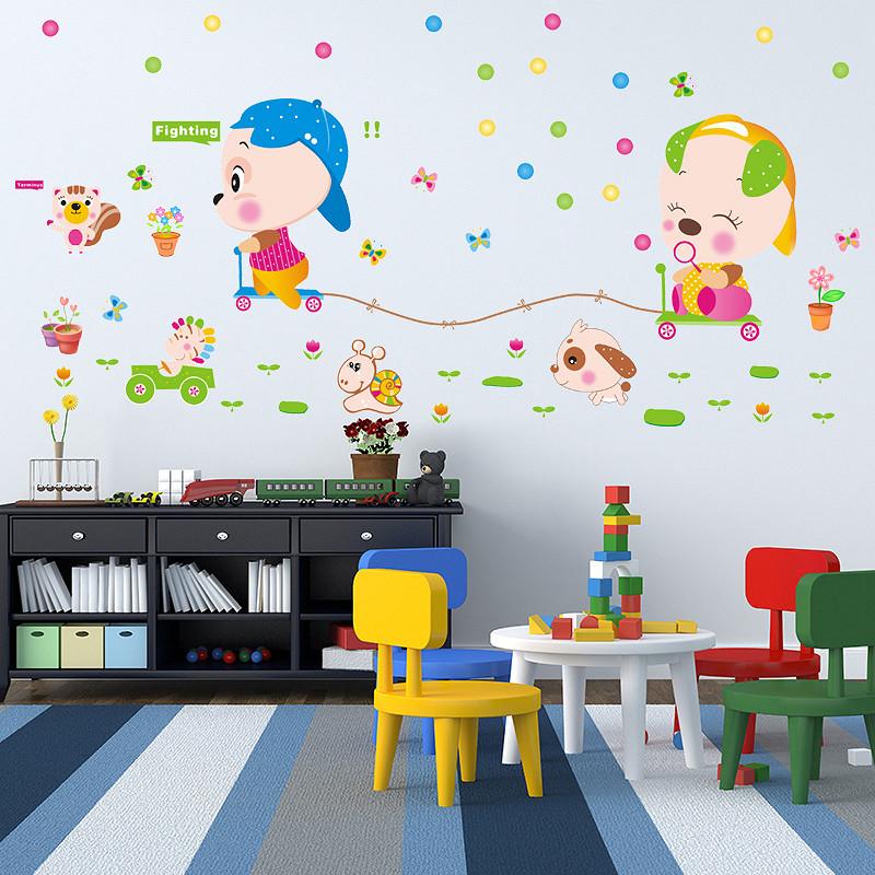 Decal dán tường loài vật đua xe cho bé ZOOYOO XL7100