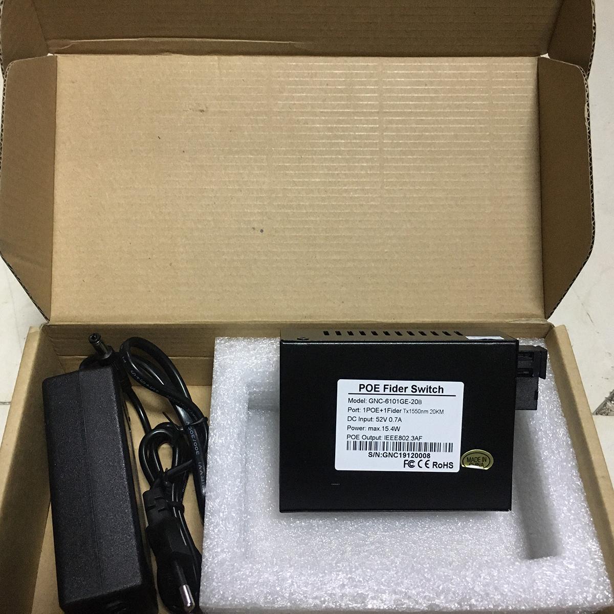 Bộ chuyển đổi quang điện Gigabit 8 POE 10/100/1000 M kèm cổng  SC 1 sợi GNETCOM GNC-6109GE-20B (1 thiết bị ) - Hàng Chính Hãng