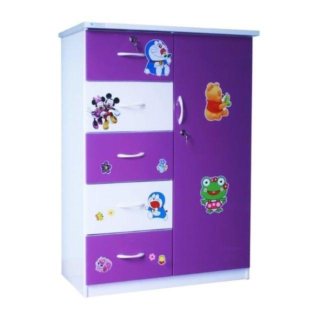 Tủ nhựa Đài Loan 1 cánh 5 ngăn T220 màu tím