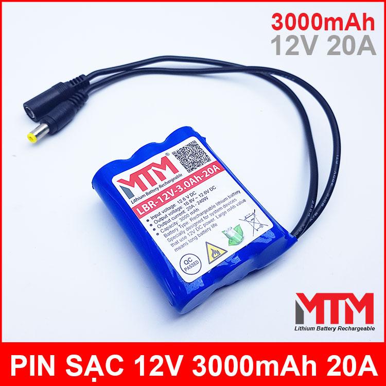 Pin sạc lithium 12V 3000mah 3S chịu tải 20A MTM kèm sạc chính hãng