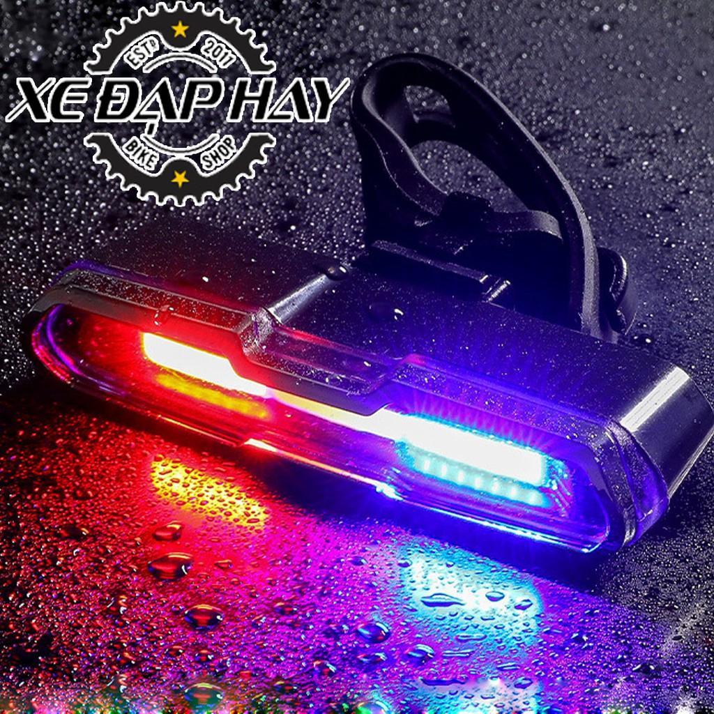Đèn Hậu  COB LED 3 màu Xanh - Đỏ - Trắng | Sạc Pin USB, Chống Nước Mưa