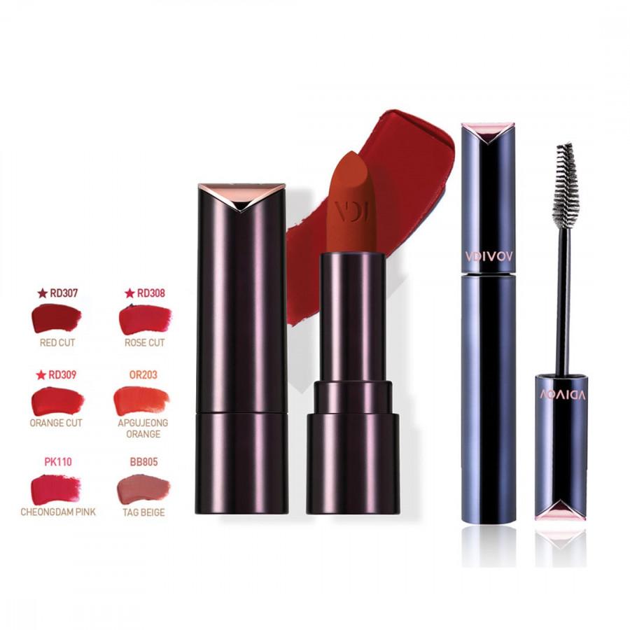 Bộ đôi VDIVOV Son lì Lip Cut Rouge Velvet PK110 CHUNGDAM PINK 3.8g, Eye Cut Mascara 01 Long & Curl 8g
