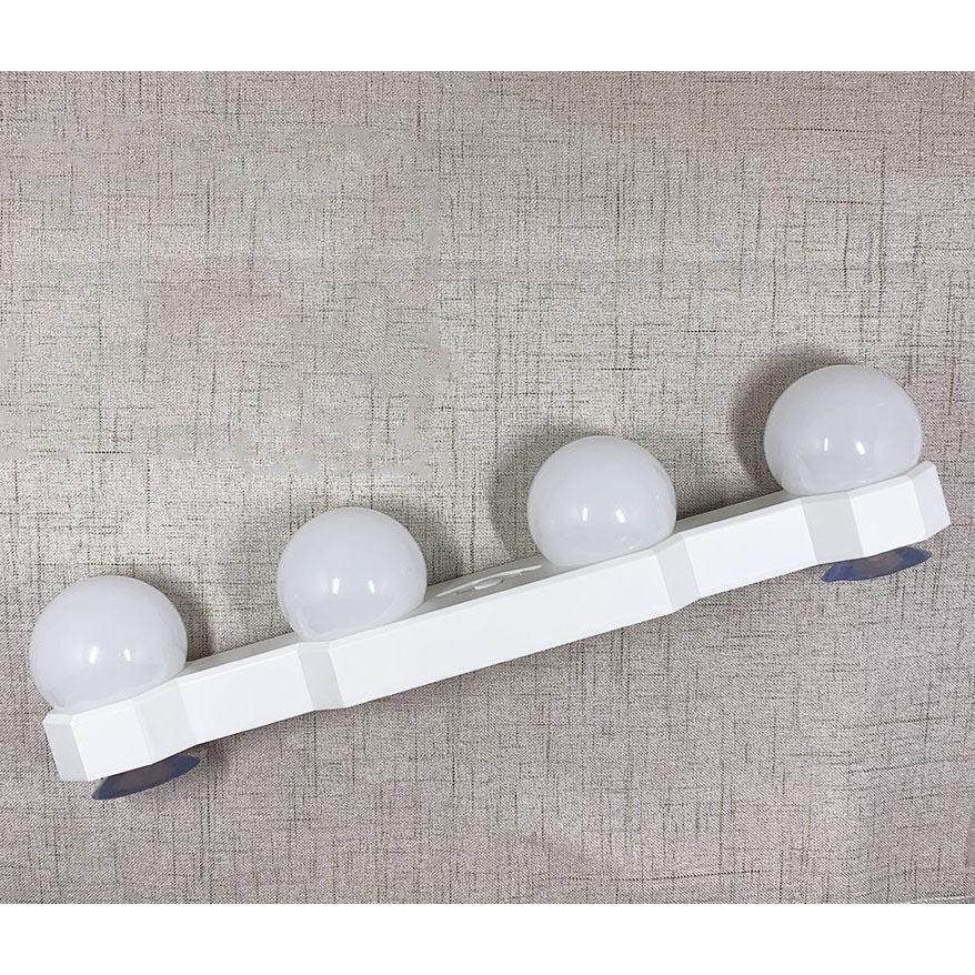 Bộ 4 Bóng Đèn LED Cho Bàn Trang Điểm, Sử Dụng Pin Sạc, 3 Chế Độ Sáng