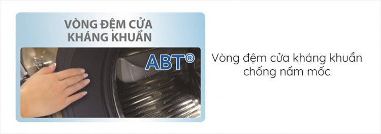 Máy giặt sấy AQUA AQD-DH1050C N, giặt 10.5kg, sấy 7kg,Invertertrang bị Vòng đệm cửa kháng khuẩn ABT