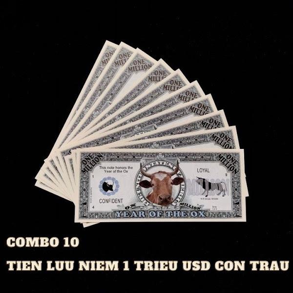 Thương hiệu: TMT COLLECTION   Combo 10 Tiền Lưu Niệm 1 Triệu USD Hình Con Trâu