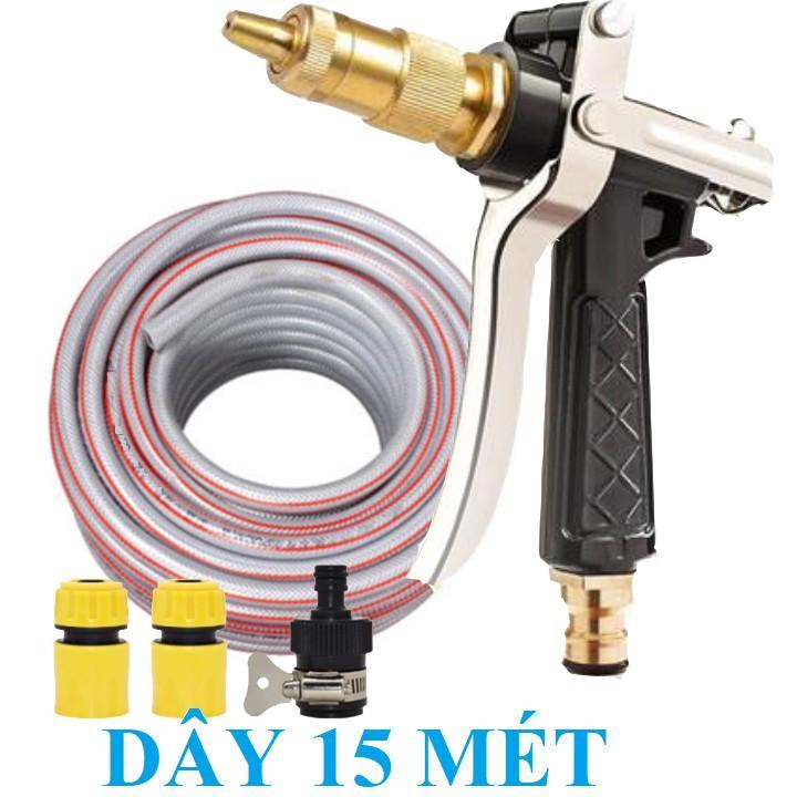 Bộ dây vòi xịt nước rửa xe, tưới cây . tăng áp 3 lần, loại 15m 206236 đầu đồng,cút,nối đen+ tặng đai