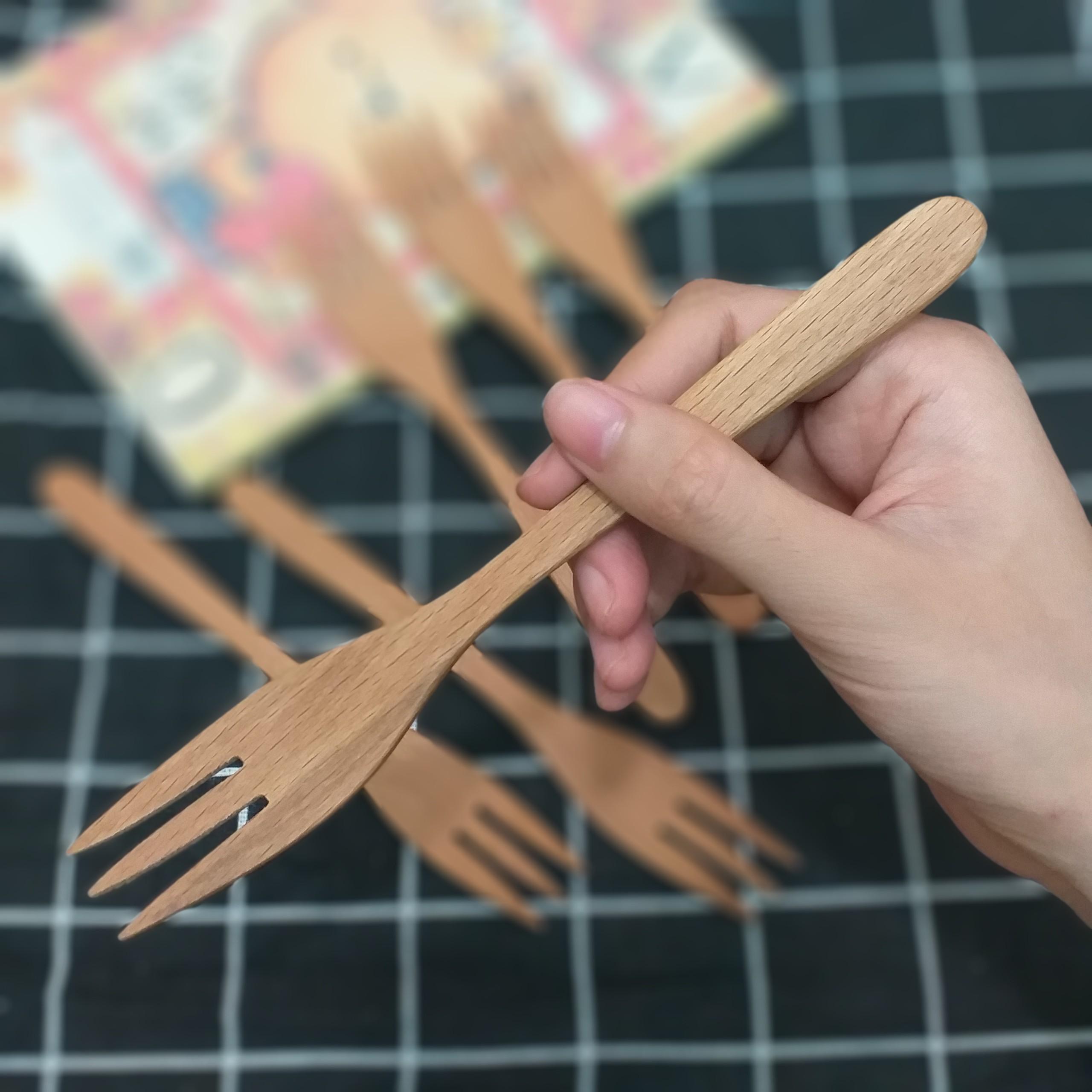 Bộ 6 Nĩa gỗ BEECH 3 chấu Vừa (17,5cmx2,5cm) - Đồ Gỗ Bàn Ăn Tiện Dụng (BE9)