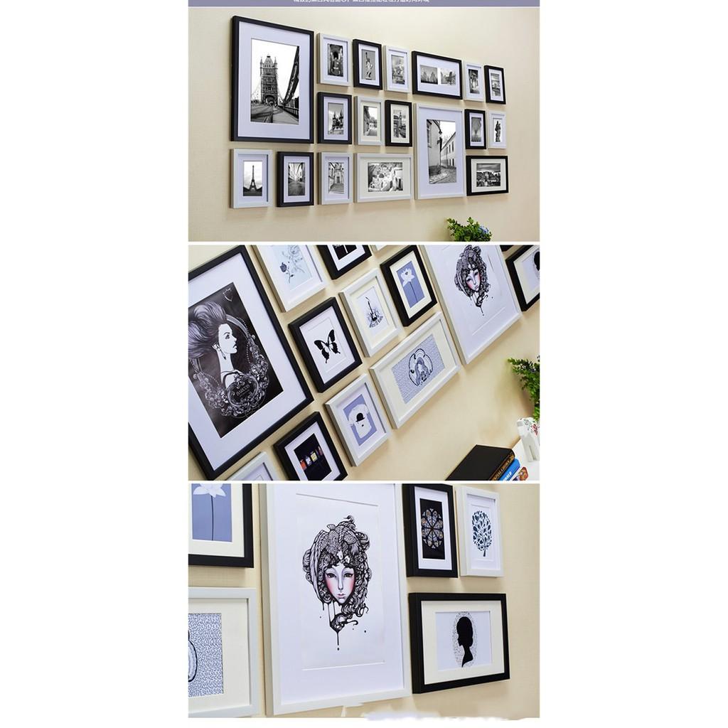Bộ 18 Khung ảnh Composite Treo Tường Phòng Khách, quán Cafe KA1804 Miễn phí phụ kiện.