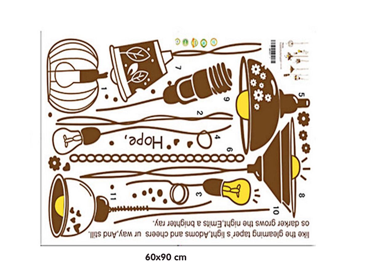 decal dán tường đèn treo vàng am9067
