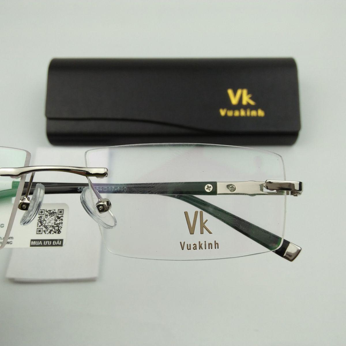 Gọng kính cận không viền càng gẵn đá lục giác VK-41