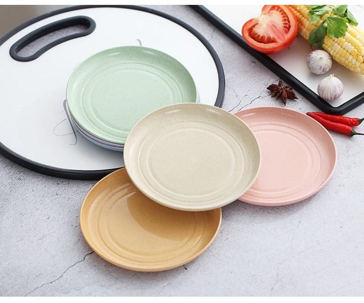 Set 6 đĩa nhựa lúa mạch 6 màu đựng thức ăn - Bộ đĩa tròn lúa mạch nhỏ gọn, tiện lợi, an toàn cho sức khỏe -  Tặng miếng rửa bát silicon