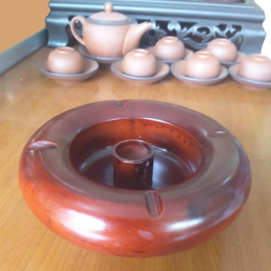 Combo 02 Gạt tàn thuốc gỗ hương đỏ (Gia công nguyên khối, 16cm x 6cm)