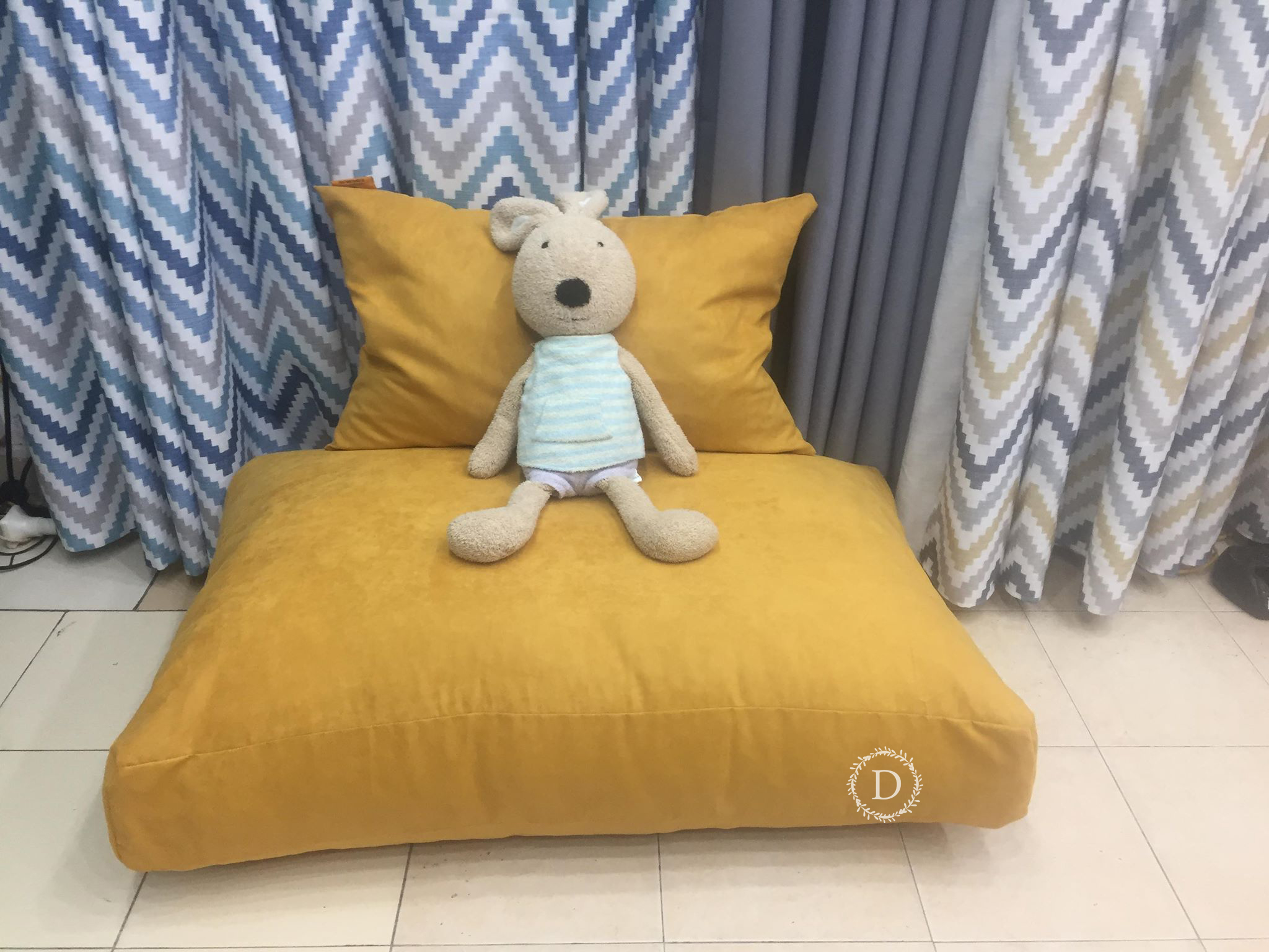 Ghế Sofa Lazy Siêu Tiện Ích 2 Trong Suede Vải Linen  Korea Hoa Lá