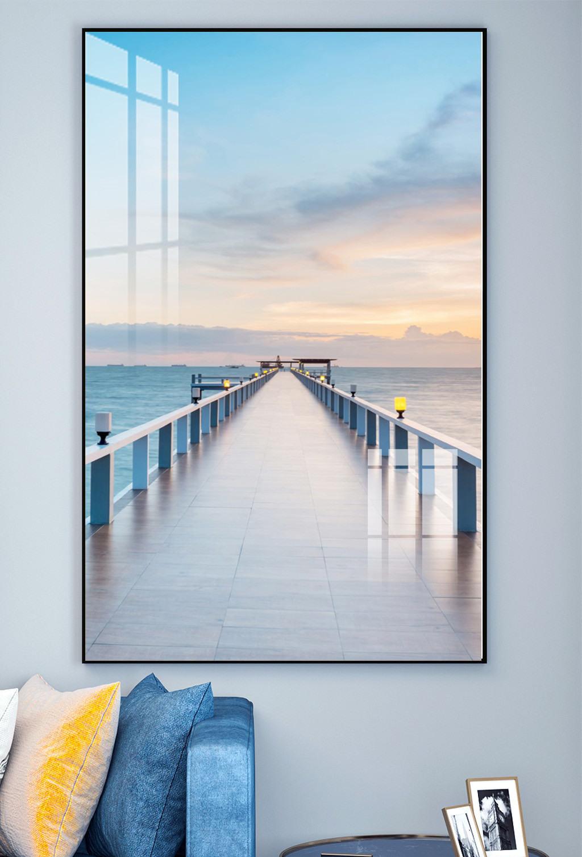 Tranh treo tường bóng pha lê Cảnh đẹp cầu cảng biển trang trí phòng khách bếp phòng ngủ BK_0036