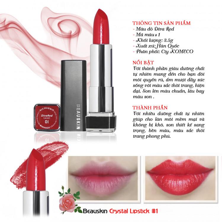 [Tặng kèm móc khoá] Son môi lâu trôi nhiều dưỡng Beauskin Crystal Lipstick 3.5g ( 1 Đỏ Tươi) 3