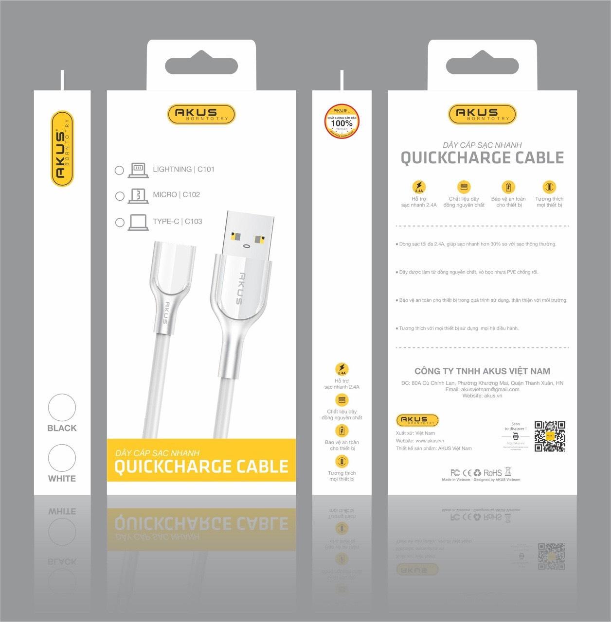 Hàng chính hãng - Dây cáp sạc nhanh cho Iphone 2.4A thương hiệu AKUS dài 1m, cổng Lightning