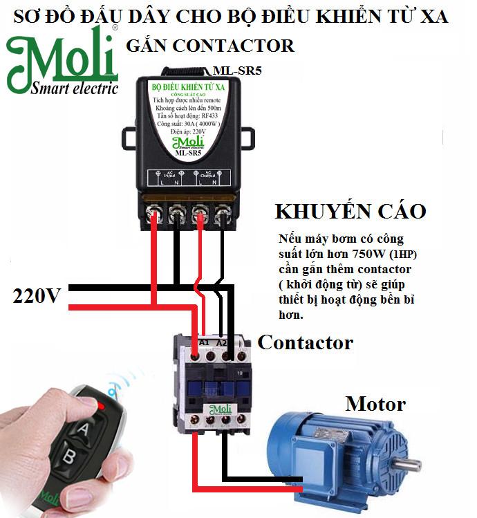 Bộ công tắc điều khiển từ xa bật tắt máy bơm,bình nóng lạnh...công suất lớn 3000W/220V có chức năng học lệnh dễ dàng