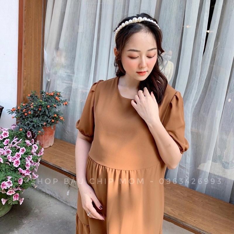 Đầm Bầu, Váy Bầu V26 Dáng Suông 3 Tầng Cực Xinh Và Trẻ Trung, Mẹ Mặc Thoải Mái Đến Hết Thai Kỳ