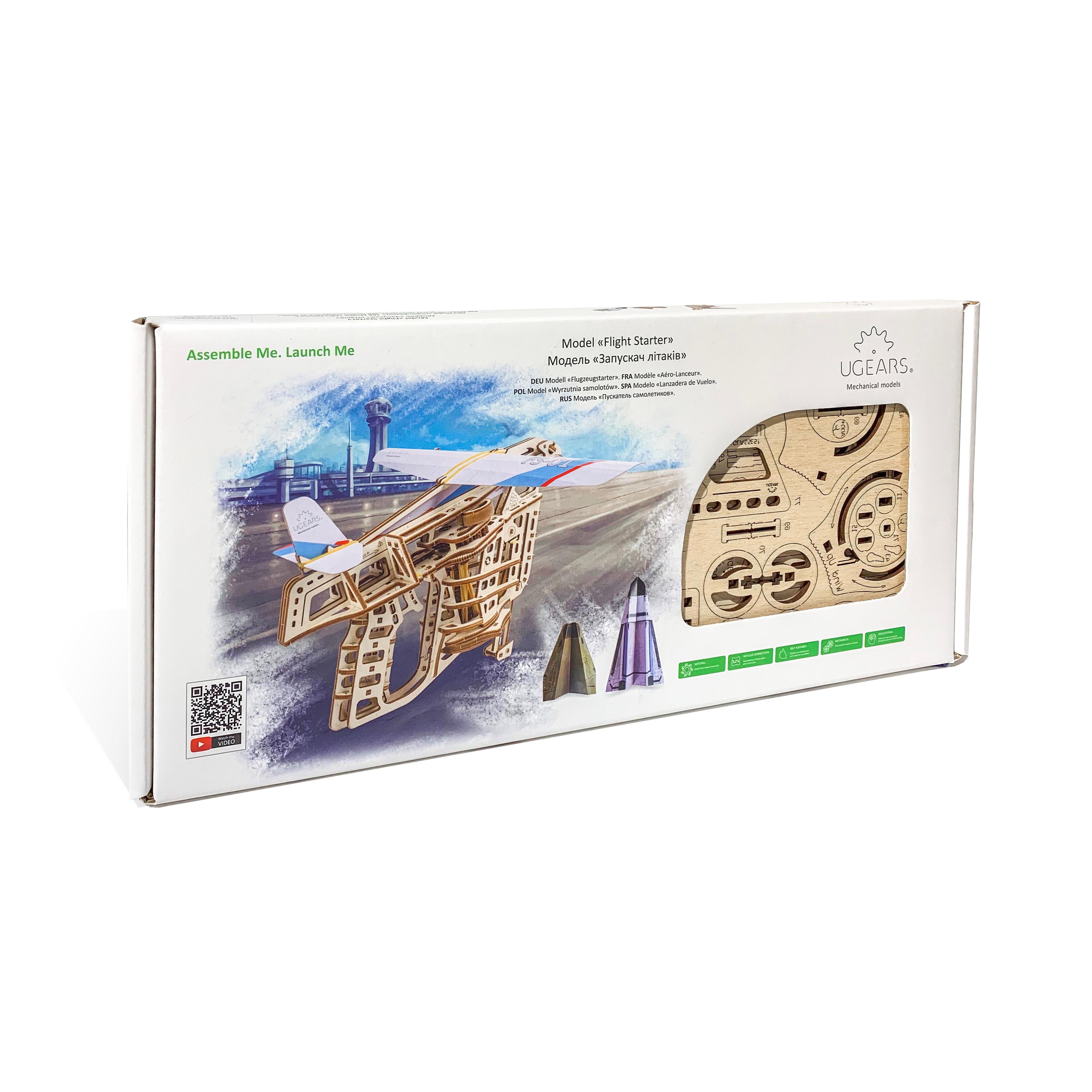 Mô hình gỗ cơ khí tự chuyển động- Ugears Flight Starter- Hàng chính hãng Ugears, nhập khẩu nguyên bộ từ EU, mô hình lắp ráp 3D, DYI
