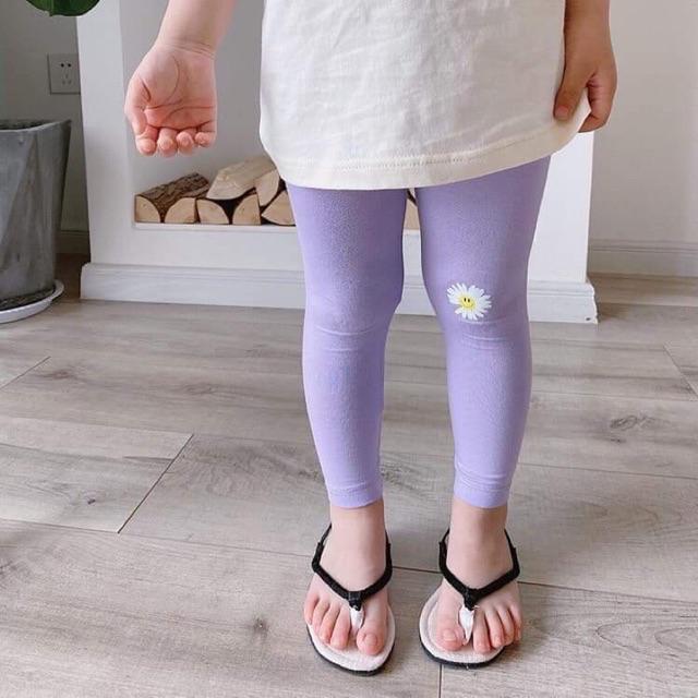 Quần legging thun thêu hoa cúc bé gái từ 8-18kg