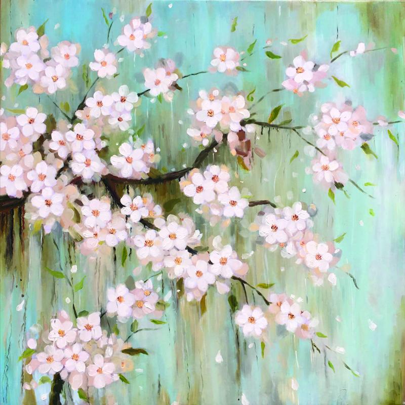 Tranh sơn dầu vẽ tay Hoa xuân OP006