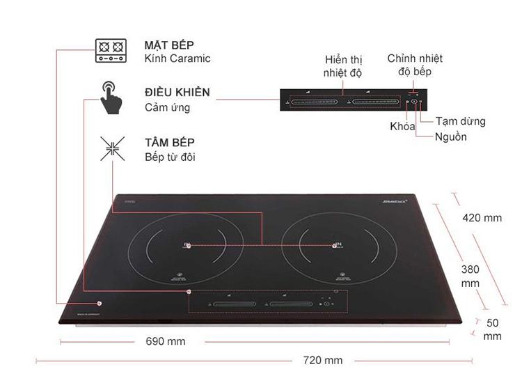 Bếp Đôi Điện Từ Âm Steba IK500 (3700W) – Hàng Chính Hãng