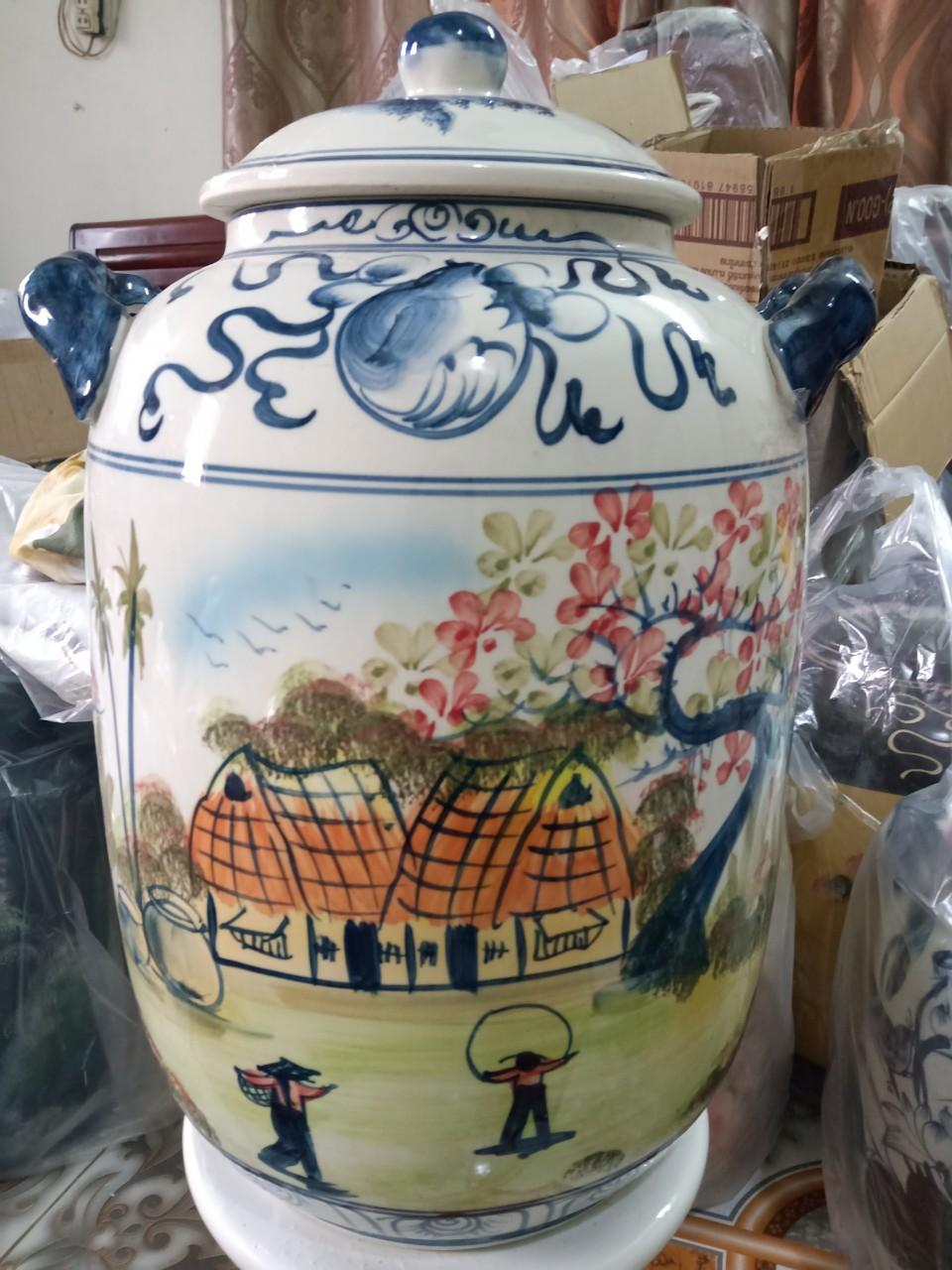 Hũ đựng rượu gạo vẽ phong cảnh Bát Tràng loại 30L (hoa văn ngẫu nhiên)